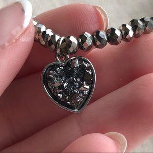 Sparkly Bracelet With Geode Heart Gem